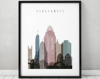 cincinnati art print cincinnati skyline art cincinnati poster distressed art travel decor - Home Decor Cincinnati