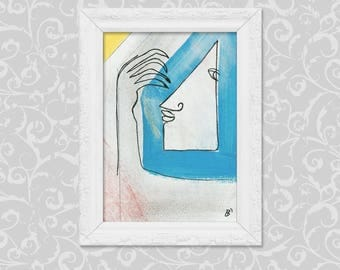 Painting abstract DIN A6 / original art image