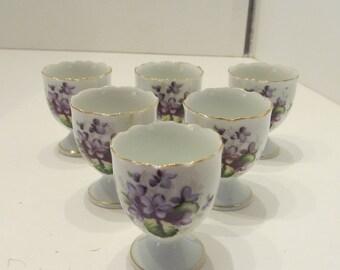 VINTAGE L & M China Egg Cups - Violet Pattern - Set of 6