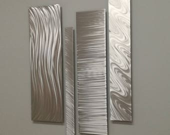 Natural Silver Modern Metal Wall Accent, Multipanel Wall Sculpture, Modern Wall Decor, Contemporary Accent, Metal Wall Art, Silver Wall Art