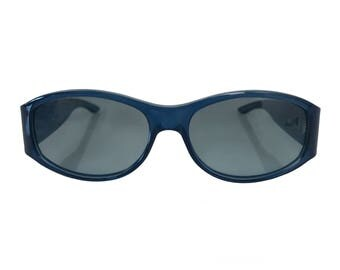 CHRISTIAN DIOR Vintage 1990s Small Blue Oval Translucent Sunglasses with Monogram Logo