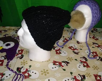 crochet black hat with faux fur pom pom