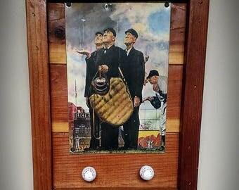 Baseball hat rack/ plaque / key holder rack Norman Rockwell