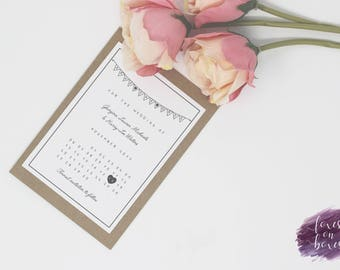 Simple Bunting Save the Date | Wedding Save the Date | Sample Only | Printed/Printable | Design Code #5