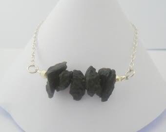 Moldavite Bracelet, Moldavite Jewelry, Moldavite and Sterling Silver Bracelet, Meteorite Bracelet, Meteorite Jewelry, Rough Moldavite, Gift
