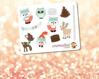 Winter Woodland Animals / Christmas / Holiday Mini Planner Sticker Sheet