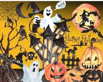 "ON SALE 30% Watercolor halloween clipart: ""HALLOWEEN Clip Art"" handpainted clipart Jack O Lanterns thanksgiving clipart  pumpkin clipart wit"