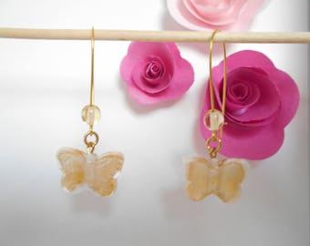 Butterfly glass bead earrings