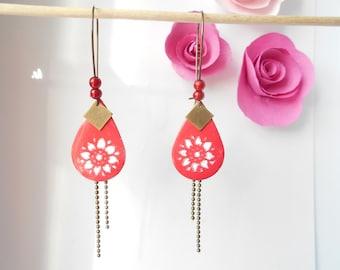 bronze drop earrings Red