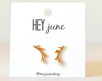 antler stud earrings, antler earrings, elk earrings, gold antler earrings, outdoorsy earrings, antler studs