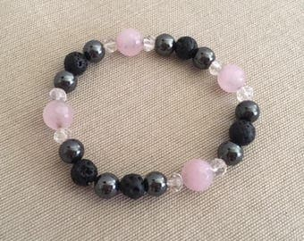 Classy - Aromatherapy Essential Oil Diffuser Bracelet, Lava Beads, Crystal, Hematite and Quartz