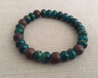 Mother Earth - Aromatherapy Essential Oil Diffuser Bracelet, Crystal and Wood