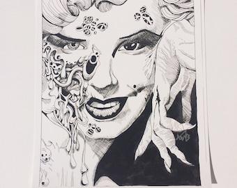 Marilyn Monroe Zombie art print pop comic sketch