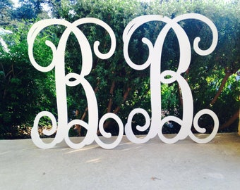 Monogram Letters, Set of 2, Weddings, Home Decor, Door Wreath, Nursery Letters, Wooden Letters, Door Hanger, Home Decor
