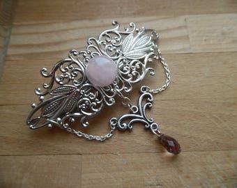 Hair clip Aegwynn guardian, elven quartz pink.