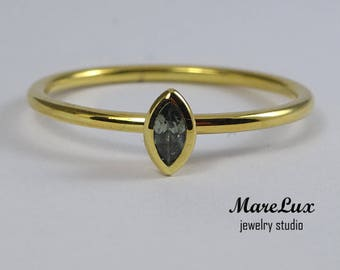 14K Yellow Gold Plated Marquise Tourmaline Silver Ring, October Birthstone Ring, Synthetic Green Tourmaline Ring, Stackable Tourmaline Ring