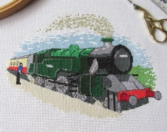 Steam train cross stitch pattern, traditional realistic railway locomotive counted cross stitch chart, transport, instant download PDF