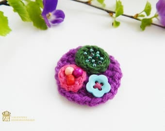 Boho brooch, Rustic Brooch Crochet Brooch