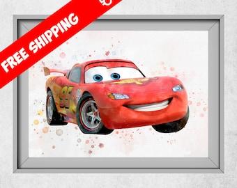 Disney Cars Print, Lightning McQueen Poster, Disney Cars Birthday, Lightning McQueen Decor, Kids Room Decor, Nursery Wall Art, Free Shipping
