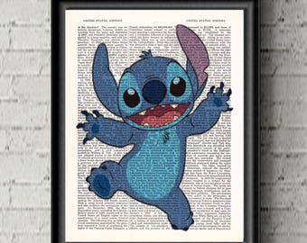 Disney Lilo and Stitch Wall Art Cartoon Art Print Disney Stitch Poster Kid's Gift Upcycled Dictionary