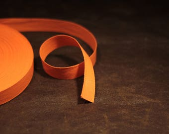 set of 5 m of tape cotton twill Orange width 2 cm