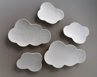5 clouds sewing silver leatherette