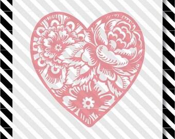 Zen Floral Heart svg - Floral Valentine Heart cut file - Valentine svg - Heart svg - Floral Heart vector - Zen Floral Valentine svg - Heart