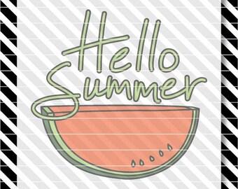 Hello Summer svg - Hello Summer Watermelon svg - Hello Summer dxf - Hello Summer Watermelon dxf - Hello Summer cut file - Hand Lettered svg