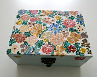 "Jewelry, ""Japanese garden"", double compartment wooden box"