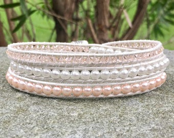 Pink and White Beaded Leather Wrap Bracelet/Stacking Bracelet/Layer Wrap/Chan Luu Style/Triple Wrap/Swarovski/Pearl Beads/Gift for Her/Boho