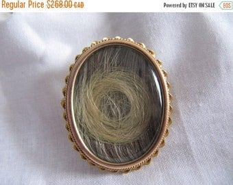 On Sale Antique Victorian Hair Locket Brooch Pendant, Hair Mourning Jewelry 10K Gold , Blonde Hair Locket Brooch Pendant