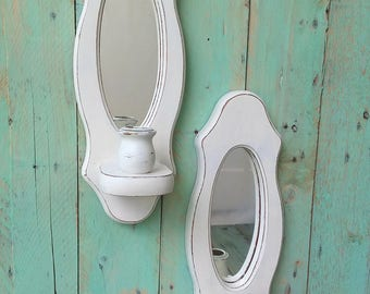 Small Vintage Shabby Chic Rustic Wooden Candle Holder Sconces Painted Antique White and Distressed