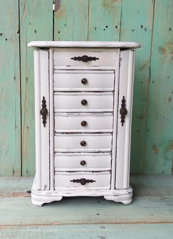 Large shabby chic rustic wooden jewelry box armoire painted