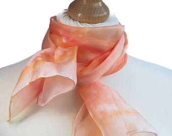 Coral scarf, Coral anniversary, Orange scarf, Womens scarves, Womens silk scarves, Bohemian scarf, Summer scarf, Silk summer scarf,