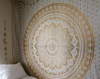 Large yellow lotus flower mandala tapestry wall hanging cheap hippie tapestry