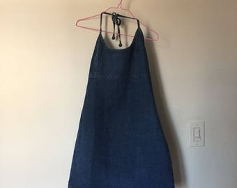90s Backless Halter Denim Mini Dress