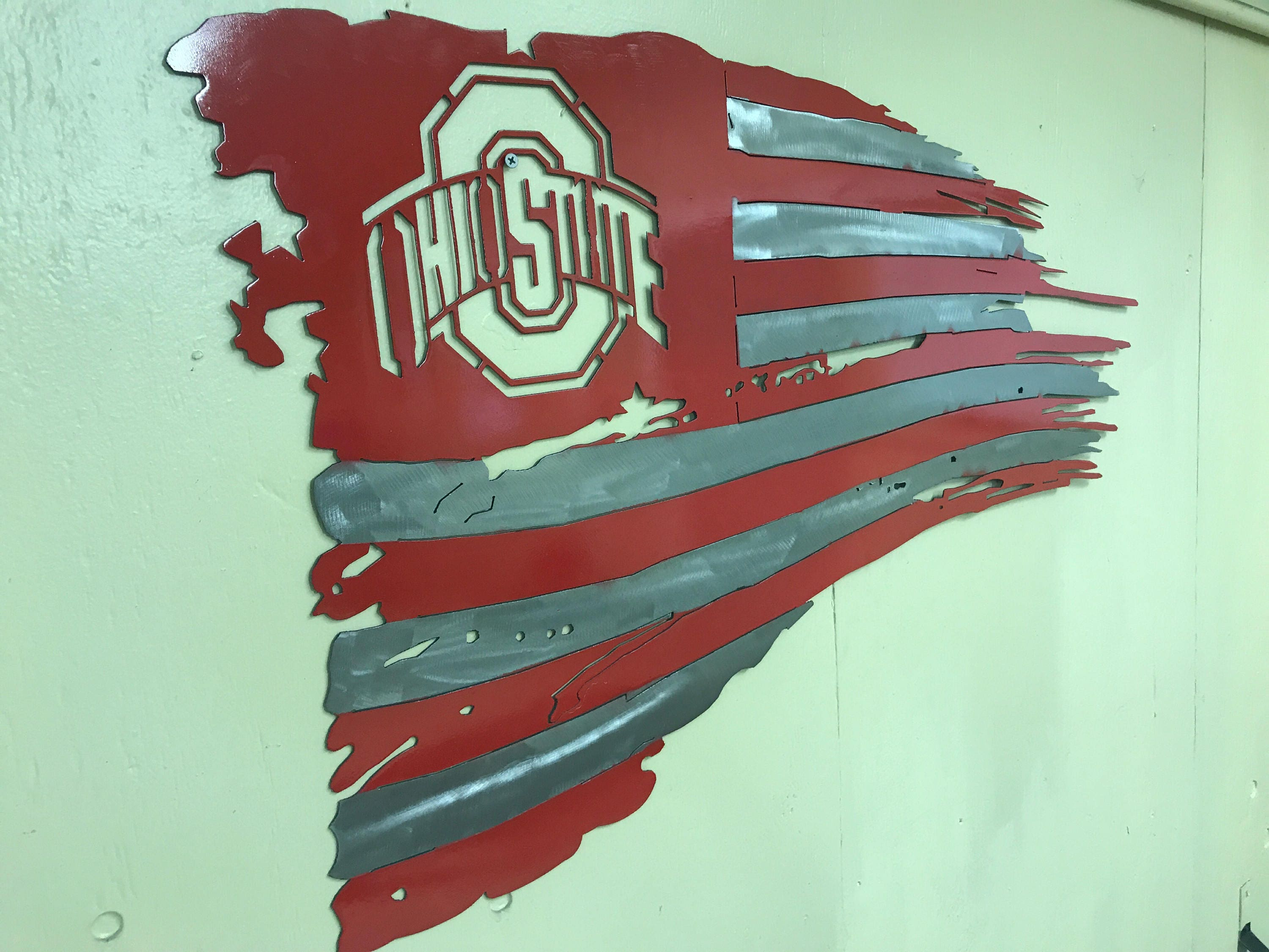 state ohio tattered and torn metal american flag