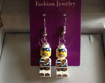 Handcrafted earrings with LEGO Microfig pirate
