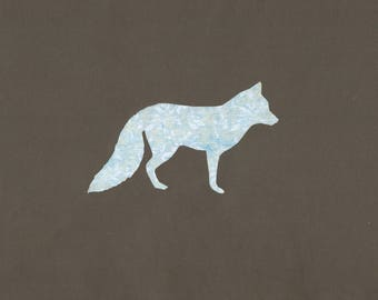 Fox in vintage blue and white paper