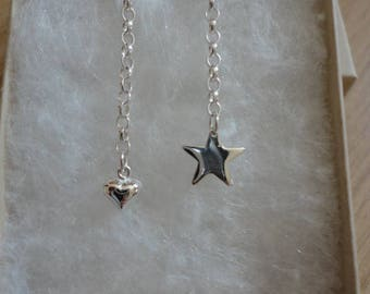Heart and Star drop earrings