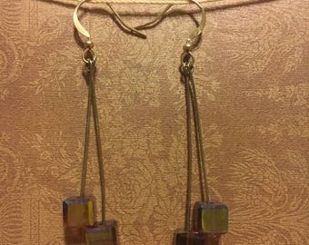 Double square drop earring