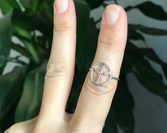 Peace sign stacking ring, Peace Ring, Statement Ring, Gift for Her