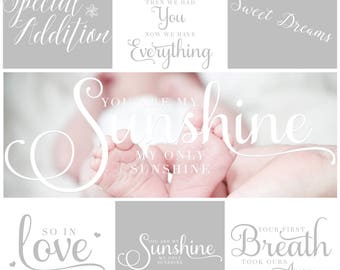 18 Piece Newborn Wordart Photoshop Overlays Marketing Materials INSTANT DOWNLOAD for Photographers, Photography Templates
