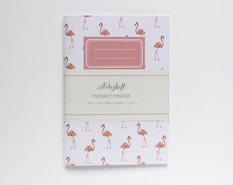 Notebook eco, A5, with flamingo pattern - jotter flamingo - notebook ruled