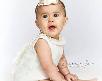 Baby girl sitter size, white, romper set photo prop