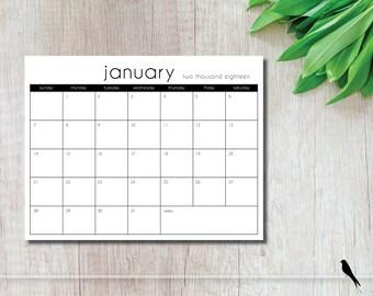2018 Printable Wall Calendar - Modern 12 Month Calendar - Home, Office Appointment Planner - Black Wall Calendar - Instant Download Calendar