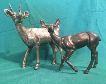 Pair of Vintage Brass Deer