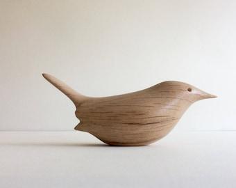 Carved Wooden Bird. Wren.