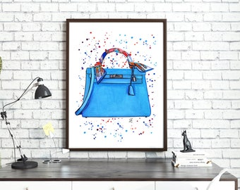 Hermes illustration, Hermes fashion art, Hermes painting, Hermes Kelly,Hermes blue bag,Hermes Kelly bag,Fashion illustration, Fashion sketch