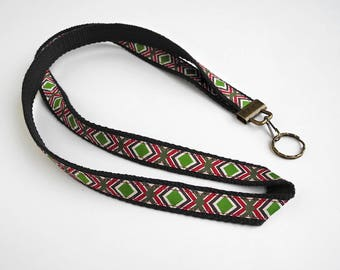 Black Lanyard, Long Keychain, Badge Card Holder, Lanyard with ID Holder, Gift for Coworker, Birthday Gift, Aztec, Southwestern Key Chain